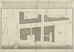 A PLAN of Part of Westminster, from the Hall to the Plantation Office, taken from an actual Survey